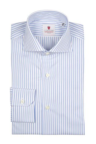 Cordone1956  - Classic Shirt Mod. Bold Stripes Azure   - Made by: Machine   - Type: business  - Made In Italy