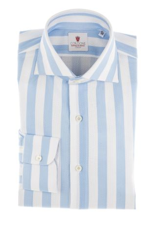 Cordone1956  - Limited Edition Shirt   Mod. Giro Inglese Big Stripes Azure   - Made by: Machine    - Type: casual   - Made In Italy
