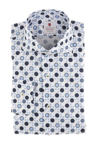 Cordone1956  - Shirt Limited Edition  Mod. Giro Inglese Polka Dots Bluee  - Made by: Machine    - Type: casual   - Made In Italy