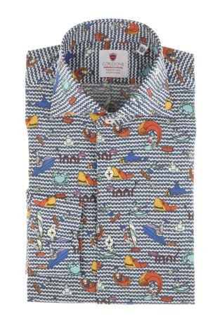 Cordone1956  - Limited Edition Shirt   Mod. Boat bluee  - Made by: Machine    - Type: casual   - Made In Italy