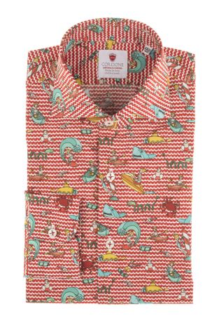 Cordone1956  - Limited Edition Shirt   Mod. Boat Red   - Made by: Machine    - Type: casual   - Made In Italy