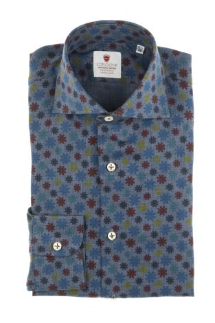 Cordone1956  - Shirt Limited Edition  Mod. Linen Denim 1  - Made by: Machine    - Type: casual   - Made In Italy