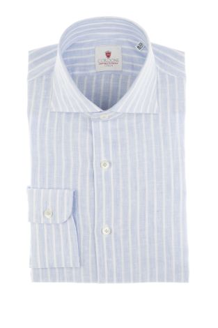 Cordone1956  - Shirt Linen  Mod. Linen Stripes Azure  - Made by: Machine    - Type: casual   - Made In Italy
