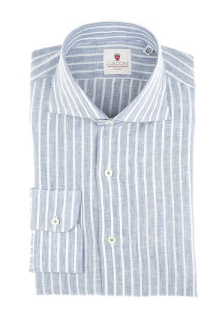 Cordone1956  - Shirt Linen  Mod. Linen Stripes Bluee   - Made by: Machine    - Type: casual   - Made In Italy