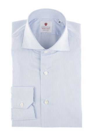 Cordone1956  - Classic Shirt Mod. White Azure Easy Iron   - Made by: Machine   - Type: business  - Made In Italy