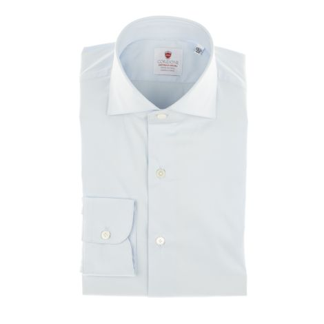 Cordone1956  - TailoRed shirt Mod. Azure Comfort  - Fabric cotton  - popline  - Color Azure  - Made In Italy