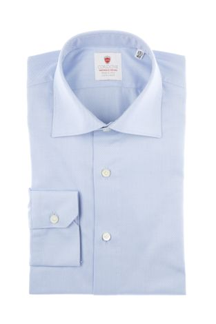 Cordone1956  - By-Hand Shirt   Mod. Spina Azure   - Made by: Handmade  - Type: business   - Made In Italy