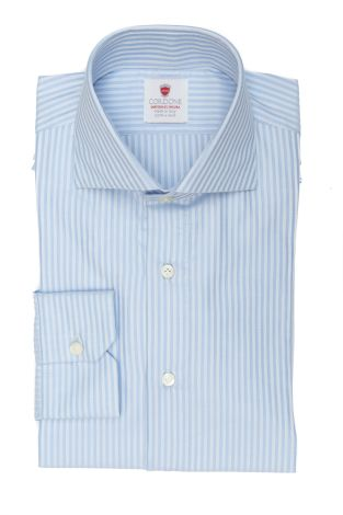 Cordone1956  - By-Hand Shirt   Mod. Cav Azure   - Made by: Handmade  - Type: business   - Made In Italy