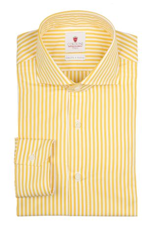 Cordone1956  - By-Hand Shirt   Mod. Dandy Yellow Stripes   - Made by: Handmade  - Type: casual   - Made In Italy