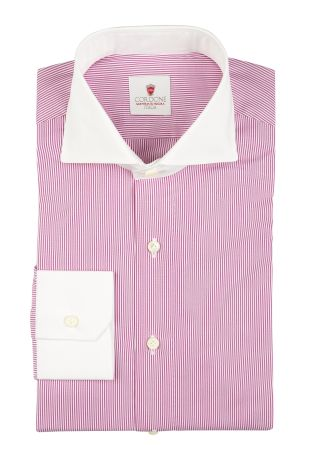 Cordone1956  - By-Hand Shirt   Mod. Dandy White Lilac   - Made by: Handmade  - Type: business   - Made In Italy
