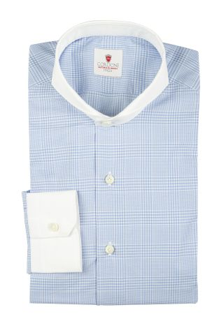 Cordone1956  - By-Hand Shirt   Mod. Azure Galles White   - Made by: Handmade  - Type: casual   - Made In Italy
