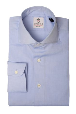 Cordone1956  - Classic Shirt Mod. Voile Light Bluee Cotton   - Made by: Machine   - Type: business   - Made In Italy