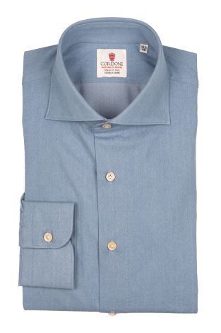 Cordone1956  - By-Hand Shirt   Mod. Denim Azure Shirt  By-Hand   - Made by: Handmade  - Type: casual   - Made In Italy