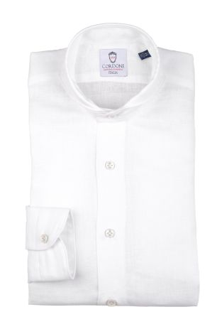 Cordone1956  - Shirt Linen  Mod. Linen White Shirt  - Made by: Machine    - Type: casual   - Made In Italy
