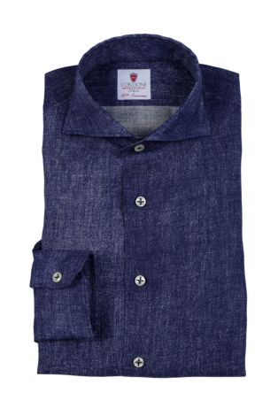 Cordone1956  - Shirt Linen  Mod. Linen Denim Bluee Jeans  - Made by: Machine    - Type: casual   - Made In Italy