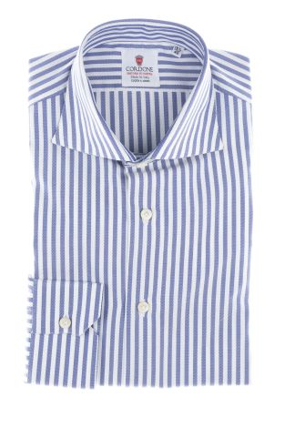 Cordone1956  - By-Hand Shirt   Mod. Big Oxford Stripes Bluee  - Made by: Handmade  - Type: business  - Made In Italy