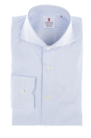 Cordone1956  - By-Hand Shirt   Mod. White and Azure Cotton Twill Stripes Shirt   - Made by: Handmade  - Type: business  - Made In Italy
