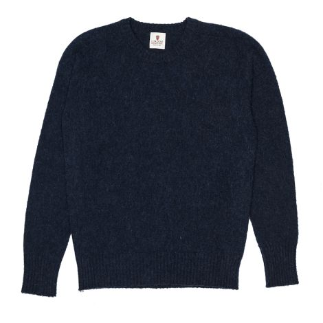 Cordone1956  - Knitwear  Fulled Crew-Neck Bluee  - Fabric Lana Cashmere   - Color Bluee