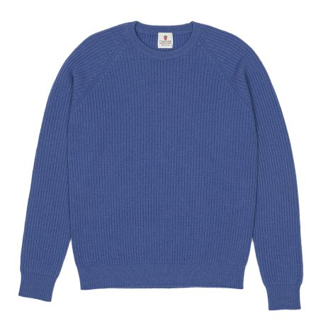 Cordone1956  -  Sweatshirt Crew-Neck Blue Elecrtic   - Fabric Lana Cashmere   - Color Bluee Electric   -