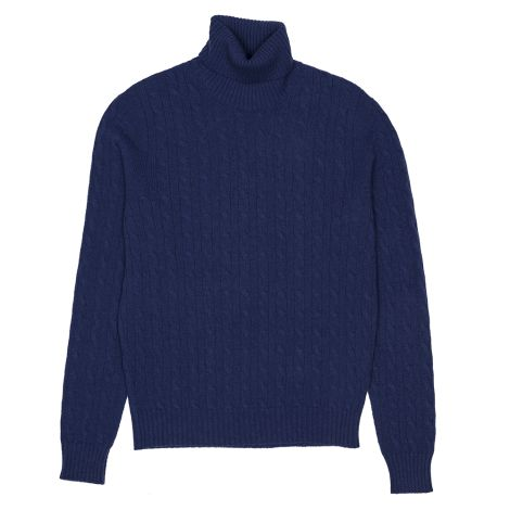 Cordone1956  - Turtleneck Braid Bluee  - Fabric Lana Cashmere   - Color Bluee