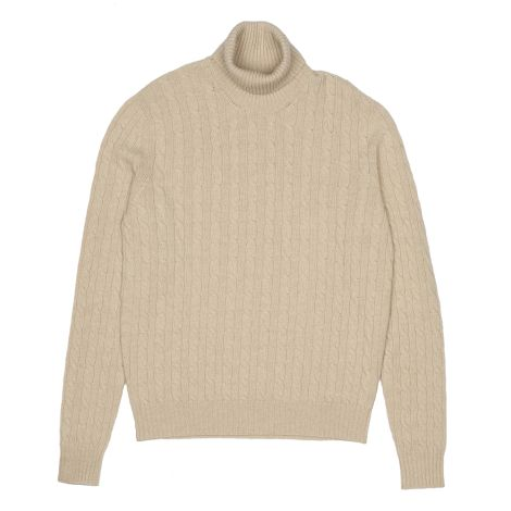 Cordone1956  - Turtleneck Braid Beige  - Fabric Lana Cashmere   - Color Beige