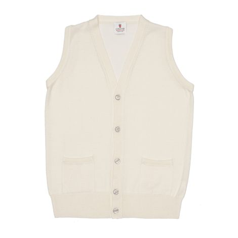 Cordone1956 -  Sleeveless Cardigan With Botton Crem - Fabric  wool - Color White