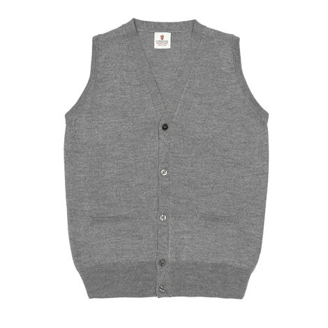 Cordone1956 -  Sleeveless Cardigan With Botton Grey - Fabric  wool - Color Grey