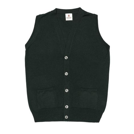Cordone1956 - Sleeveless Cardigan With Botton Green - Fabric wool - Color Green