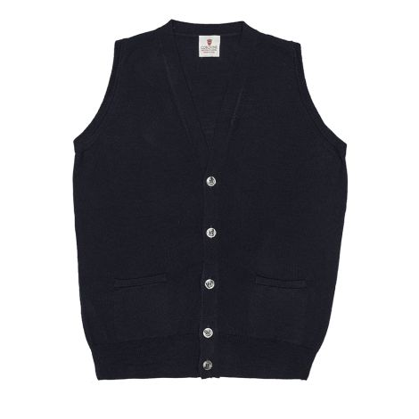Cordone1956 - Sleeveless Cardigan With Botton bluee - Fabric wool - Color bluee
