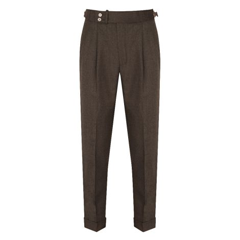Cordone1956  - Trousers Mod Brown Flannel Trousers - Fabric Flannel