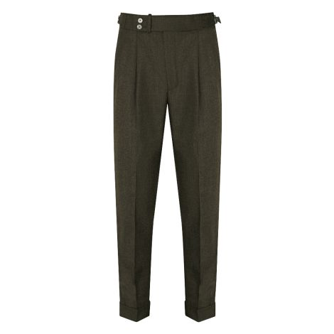 Cordone1956  - Trousers Mod Green Flannel Trousers - Fabric Flannel