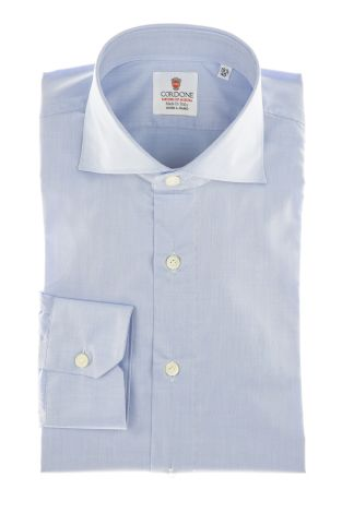 Cordone1956 - Shirts By-Hand Mod. Yoga Blu Twill  Shirt By-Hand Blue - Made by Machine - Type Business - Made In Italy