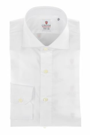 Cordone1956 - Shirts By-Hand Mod. Yoga White Twill  Shirt By-Hand - Made by Machine - Type Business - Made In Italy