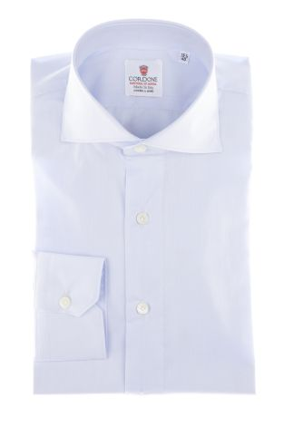Cordone1956 - Shirts By-Hand Mod. Yoga Azure Twill  Shirt By-Hand Azure - Made by Handmade - Type Business - Made In Italy