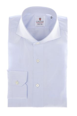 Cordone1956 - Shirts By-Hand Mod. Popeline Azure Modern  Shirt By-Hand Azure - Made by Machine - Type Business - Made In Italy