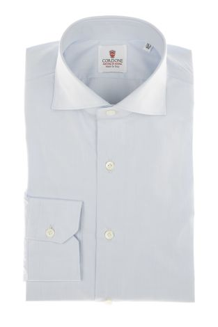 Cordone1956 - Shirt Classic Mod. Venice Azure  Classic Shirt - Made by Machine - Type Business - Made In Italy