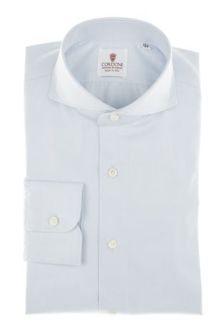 Cordone1956 - Shirt Classic Mod. Best Azure Classic Shirt Azure - Made by Machine - Type Business - Made In Italy