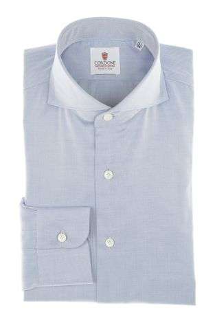Cordone1956 - Shirt Classic Mod. Best Blu Classic Shirt Blue - Made by Machine - Type Business - Made In Italy