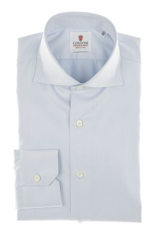 Cordone1956 - Shirt Classic Mod. Twill Azure Modern  Classic Shirts Azure - Made by Machine - Type Business - Made In Italy