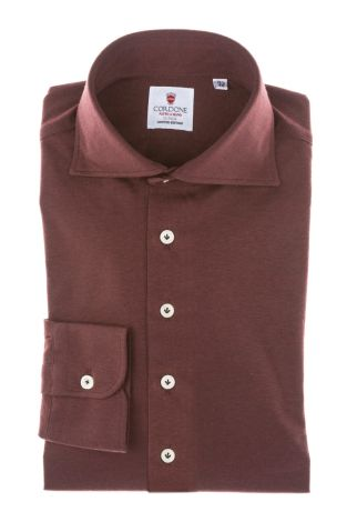 Cordone1956 - Tailored Shirt Mod. Shirt Bordeaux Jersey - Made by Machine - Made In Italy
