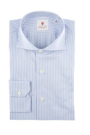 Cordone1956  - Classic Shirt Mod. Super Stripes Azure   - Made by: Machine   - Type: casual   - Made In Italy