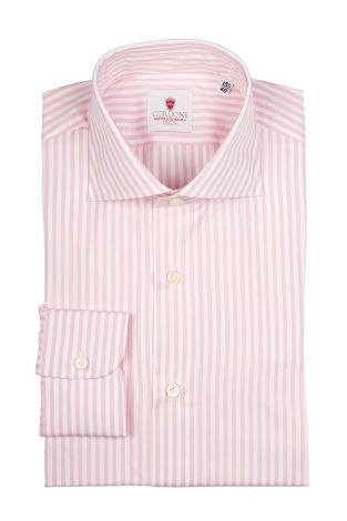 Cordone1956  - Classic Shirt Mod. Dandy Stripes Pink   - Made by: Machine   - Type: casual   - Made In Italy