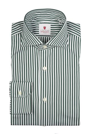 Cordone1956  - Classic Shirt Mod. Dandy Stripes Green   - Made by: Machine   - Type: casual   - Made In Italy