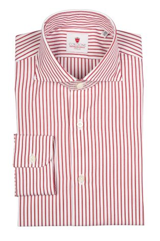 Cordone1956  - Classic Shirt Mod. Bold Stripes Red   - Made by: Machine   - Type: business  - Made In Italy