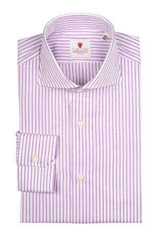 Cordone1956  - Classic Shirt Mod. Bold Stripes Lilac   - Made by: Machine   - Type: casual   - Made In Italy