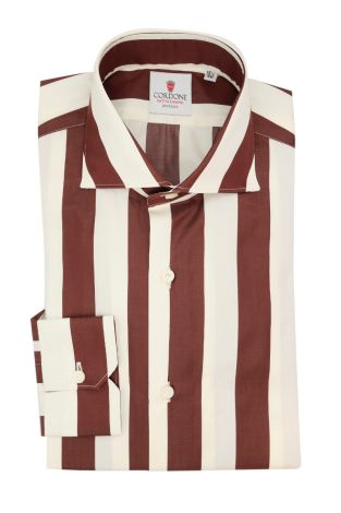 Cordone1956  - Classic Shirt Mod. Wide Stripes Bordeaux - Made by: Machine - Type: casual  - Made In Italy