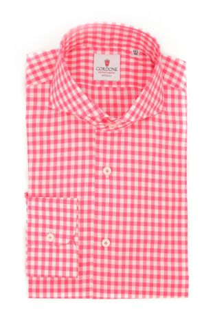 Cordone1956  - Classic Shirt Mod. Checkered Cotton Strawberry - Made by: Machine - Type: casual  - Made In Italy