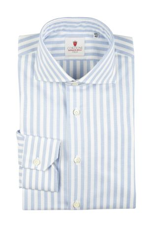 Cordone1956  - Classic Shirt Mod. Oxford Big Stripes Azure   - Made by: Machine   - Type: casual   - Made In Italy