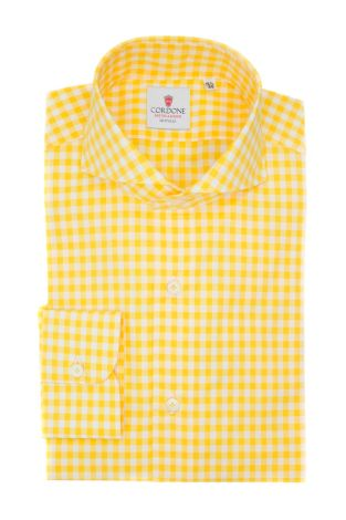 Cordone1956  - Classic Shirt Mod. Checkered Cotton Yellow - Made by: Machine - Type: casual  - Made In Italy
