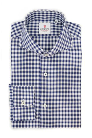 Cordone1956  - Classic Shirt Mod. Checkered Cotton Blue - Made by: Machine - Type: casual  - Made In Italy